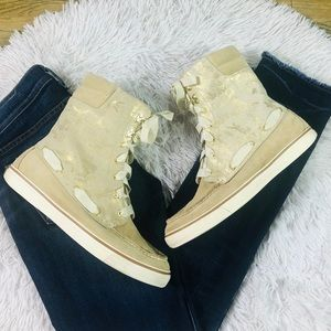 Sperry Top-Sider Gold Animal Print Boots Size 9.5